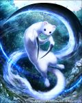 animal animal_ears floating fur kei-suwabe leaf long_tail looking_at_viewer mobius_final_fantasy official_art otter talons tree