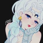1girl 2015 beruche_(sailor_moon) bishoujo_senshi_sailor_moon black_background black_moon_clan blue_eyes blue_gloves blue_hair blush braid choker close-up crescent crystal_earrings dated earrings facial_mark forehead_mark gloves hair_over_shoulder hand_on_own_cheek jewelry lipstick long_hair makeup red_lipstick signature smile solo upper_body yukinami_(paru26i)