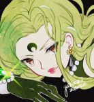 1girl 2015 bishoujo_senshi_sailor_moon black_background black_moon_clan brown_eyes close-up crescent crystal_earrings dated esmeraude_(sailor_moon) face facial_mark forehead_mark gloves green_gloves green_hair lipstick long_hair looking_at_viewer makeup red_lipstick signature smile solo yukinami_(paru26i)