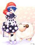 1girl aozora_market blue_eyes blue_hair cane doremy_sweet hat nightcap open_mouth sheep short_hair tail touhou