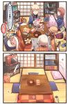 2koma 6+girls :3 anchor_choker anchor_hair_ornament battery bismarck_(kantai_collection) blush_stickers book bookshelf brown_hair cd cd_case cellphone charger charging comic commentary_request controller cushion digital_media_player dress flower food fruit game_boy game_console game_controller gamecube gamepad graf_zeppelin_(kantai_collection) hair_flower hair_ornament handheld_game_console hanten_(clothes) highres holding ido_(teketeke) ipod kantai_collection key kotatsu light_brown_hair long_hair lying mandarin_orange manga_(object) multiple_girls newspaper nintendo_3ds object_on_head on_stomach pen phone pillow playstation_portable potato_chips prinz_eugen_(kantai_collection) reading ro-500_(kantai_collection) sailor_dress short_hair silver_hair sitting sleeping sliding_doors smartphone snack sparkle table tan tatami television tissue_box translation_request trash trash_can twintails z1_leberecht_maass_(kantai_collection) z3_max_schultz_(kantai_collection)