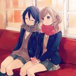 2girls adachi_sakura adachi_to_shimamura closed_eyes light_smile multiple_girls school_uniform shimamura_houzuki sitting sweater