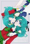 2015 2girls aqua_hair bishoujo_senshi_sailor_moon blue_bow blue_eyes bow choker dated dual_persona gloves green_bow grey_background hair_bow half_updo happy_birthday kaiou_michiru looking_at_viewer magical_girl multiple_girls sailor_neptune school_uniform serafuku short_hair striped striped_bow tiara wand white_gloves yukinami_(paru26i)