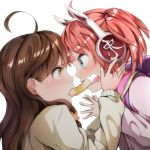 2girls absurdres ahoge blue_eyes blush brown_eyes brown_hair bunny_headphones chikuwa food hands_on_own_cheeks hands_on_own_face headphones highres hinabita long_hair looking_at_another meu_meu mouth_hold multiple_girls open_mouth pink_hair shared_food yamagata_marika yuuki_(nijiiro_palette)