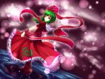 1girl blurry_background boots brown_boots collar dress dutch_angle frilled_collar frills from_behind front_ponytail full_body green_eyes green_hair hair_ribbon kagiyama_hina knee_boots light_smile looking_back puffy_short_sleeves puffy_sleeves red_dress red_ribbon ribbon rody_(hayama_yuu) shawl short_hair short_sleeves solo tareme tied_hair touhou walking walking_on_liquid water wrist_cuffs