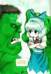>:p 1boy 1girl :p angry ascot black_hair blue_eyes blue_hair bow cirno commentary crossed_arms crossover english eye_contact female green_eyes green_skin hair_bow highres holding_up hulk isaki_tanaka looking_at_another male marvel navel short_hair short_sleeves size_difference skirt skirt_set snowball speech_bubble teeth tongue tongue_out touhou traditional_media