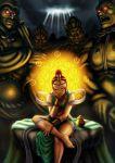 1girl 6+boys brown_eyes buddha buddhism circlet genderswap highres kuuga_(karamiso0117) medicine_buddha multiple_boys one_eye_closed redhead smile topknot twelve_heavenly_generals
