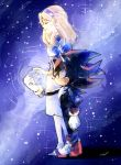 1boy 1girl aimf blonde_hair closed_eyes gloves hairband height_difference maria_robotnik shadow_the_hedgehog shoes skirt sneakers sonic_the_hedgehog star star_(sky)
