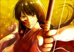1girl aiming_at_viewer angry bangs black_hair blood blood_on_face blunt_bangs blurry bow_(weapon) closed_mouth depth_of_field floating_hair frown hair_ornament holding_weapon ichi_1111_wan inuyasha japanese_clothes kikyou_(inuyasha) long_hair long_sleeves looking_at_viewer low_ponytail messy_hair miko outstretched_arm revision ribbon_trim solo upper_body weapon wide_sleeves wind yellow_background