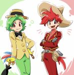 2boys bird_tail brown_eyes cigar crossed_arms disney gloves green_hair grey_gloves hat holster jose_carioca male_focus multiple_boys panchito_pistoles personification redhead smile sombrero tomatok0 umbrella yellow_gloves