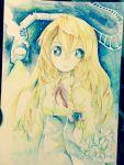 1girl aioi_aoi blue_eyes braid ginga_tetsudou_999 kirisame_marisa long_hair long_sleeves marker_(medium) shirt single_braid skirt sky solo star_(sky) starry_sky touhou traditional_media very_long_hair