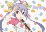 1girl antenna_hair flute hair_ribbon instrument long_hair miyauchi_renge non_non_biyori purple_hair red_eyes ribbon twintails