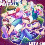 6+boys \m/ bottle bowl_cut brothers brown_hair capri_pants earrings electric_guitar english guitar heart heart_in_mouth highres instrument jewelry matsuno_choromatsu matsuno_ichimatsu matsuno_juushimatsu matsuno_karamatsu matsuno_osomatsu matsuno_todomatsu microphone multiple_boys osomatsu-kun osomatsu-san pants sandals sextuplets shirt shoes shorts show_chiku-by siblings smile sneakers sunglasses t-shirt towel water_bottle wristband