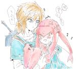 /\/\/\ 1boy 1girl bangs blonde_hair blue_eyes blue_shirt blush bracer carrying collarbone diamond_(shape) fins fish_girl flying_sweatdrops hair_between_eyes hair_ornament hands_clasped interlocked_fingers konagona link lips long_hair long_sleeves mipha monster_girl multicolored multicolored_skin no_eyebrows no_nose open_mouth orange_eyes pointy_ears princess princess_carry red_skin redhead sheath sheathed shirt short_hair short_ponytail short_sleeves simple_background speech_bubble strap sweat sword teeth text the_legend_of_zelda the_legend_of_zelda:_breath_of_the_wild translation_request undershirt weapon white_background white_shirt white_skin zora
