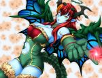 1girl ;p bare_shoulders blue_skin bol_(liliymimi) breasts cleavage demon_girl demon_horns dress elbow_gloves foreshortening gloves green_dress green_legwear hera-ur_(p&d) hera_(p&d) horns large_breasts long_hair looking_at_viewer multicolored_hair navel navel_cutout one_eye_closed orange_hair pointing pointing_at_viewer pointy_ears puzzle_&_dragons redhead smile solo tail thigh-highs tongue tongue_out two-tone_hair yellow_eyes zettai_ryouiki