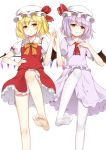 2girls ascot bangs bare_legs barefoot bat_wings blonde_hair bow bowtie brooch commentary_request crystal dress eyebrows_visible_through_hair feet_out_of_frame flan_(seeyouflan) flandre_scarlet frilled_shirt_collar frills hand_on_hip hand_on_own_chest hand_up hat hat_ribbon highres jewelry ke-ta_(style) lavender_hair leg_up looking_at_viewer miniskirt mob_cap multiple_girls no_shoes orange_bow orange_neckwear pantyhose purple_dress red_eyes red_neckwear red_ribbon red_skirt red_vest remilia_scarlet ribbon short_hair siblings simple_background sisters skirt skirt_set soles standing standing_on_one_leg thighs touhou vest white_background white_hat white_legwear wings