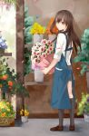 1girl apron brown_hair florist flower flower_pot flower_request green_eyes highres idolmaster idolmaster_cinderella_girls kneehighs natsuko_(1025bilix) shibuya_rin skirt sleeves_rolled_up solo