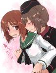 2girls blush closed_eyes girls_und_panzer hug hug_from_behind multiple_girls nishizumi_maho nishizumi_miho siblings sisters smelling sweatdrop tagme translated yumesato_makura