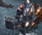 1girl ace_combat ace_combat_04 aerial_battle airplane battle black_hair blue_eyes fire gun highres kantai_collection mecha_musume missiles ocean original personification tom-neko_(zamudo_akiyuki) weapon