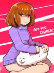 1girl annoying_dog bleeding blood brown_hair engrish frisk_(undertale) hasso_(goodbad963) highres looking_at_viewer no_panties purple_clothes purple_shirt ranguage red_eyes shirt short_hair sitting smile stabbing striped striped_shirt tongue tongue_out undertale yokozuwari