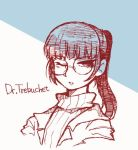 1girl bangs blunt_bangs character_name epiphany_trebuchet glasses kushima_azuki long_hair one_eye_closed ponytail ribbed_sweater scp_foundation shirt solo sweater upper_body