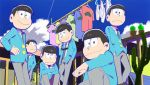 6+boys :< blue_sky briefs brothers brown_hair cactus clothesline clouds formal hand_on_hip jacket looking_at_viewer male_focus matsuno_choromatsu matsuno_ichimatsu matsuno_juushimatsu matsuno_karamatsu matsuno_osomatsu matsuno_todomatsu multiple_boys official_art open_clothes open_jacket osomatsu-kun osomatsu-san sextuplets shirt siblings sitting sky smile suit sunglasses sunglasses_removed t-shirt underwear