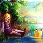 1girl blonde_hair closed_eyes full_body hat hat_removed headwear_removed landscape long_sleeves moriya_suwako mountain nature on_ground open_mouth potatotop scenery shirt shoes short_hair sitting skirt skirt_set sleeping solo thigh-highs touhou tree turtleneck vest water white_legwear wide_sleeves