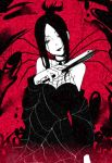 1girl arachne_(soul_eater) artist_check bare_shoulders black_hair breasts cleavage dress fan hair_bun long_hair monochrome shuri_(84k) silk smile solo soul_eater spider spider_web witch