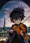 backlighting blue_eyes blue_hair bottle eiffel_tower eiyuu_senki headphones highres ink_bottle instrument ludwig_van_beethoven_(eiyuu_senki) marchop playing_instrument quill sheet_music tagme violin