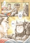 absurdres anthony_tan batman batman_(cosplay) blocking comic dc_comics english highres one-punch_man punching saitama_(one-punch_man) superman