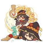1girl bandaged_leg belt black_hair black_legwear blush cape chibi eyepatch hat kono_subarashii_sekai_ni_shukufuku_wo! long_sleeves megumin open_mouth piro_(orip) red_eyes short_hair staff thigh-highs translation_request witch_hat