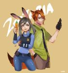 1boy 1girl animal_ears artist_name bangs beige_background belt belt_pouch black_gloves blue_pants blue_shirt brown_pants bunny_tail carrot cellphone collared_shirt copyright_name cropped_legs disney dress_shirt fox_ears fox_tail freckles gloves green_eyes green_shirt grey_hair grey_nails hair_between_eyes half_gloves hands_in_pockets hiruchan holding holding_phone judy_hopps long_sleeves looking_at_another looking_at_viewer looking_to_the_side nail_polish necktie nick_wilde orange_hair pants personification phone police police_uniform print_shirt rabbit_ears shirt short_hair short_sleeves simple_background striped striped_necktie swept_bangs tail uniform violet_eyes zootopia