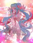 1girl asymmetrical_legwear beads blue_eyes blue_hair blue_nails chino_machiko dress hatsune_miku long_hair nail_polish see-through solo twintails very_long_hair vocaloid