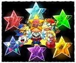 1girl 6+boys anniversary black_background blonde_hair blue_eyes booster boots bowser bowyer cape character_request crown culex dress elbow_gloves exor facial_hair geno gloves hat highres horns jewelry long_sleeves mack mallow_(mario) mario mario_(series) multiple_boys mustache nintendo open_mouth overalls pink_dress princess_peach puffy_short_sleeves puffy_sleeves rariatto_(ganguri) redhead short_sleeves smithy spikes star super_mario_bros. super_mario_rpg toad yaridovich