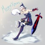 1girl absurdres artist_request blonde_hair boots breasts cleavage dark_excalibur fate/grand_order fate/stay_night fate_(series) fur-trimmed_legwear gloves grey_hair hat highres pantyhose saber saber_alter sack santa_hat snow solo thigh-highs thigh_boots yellow_eyes