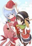 2015 3girls alternate_eye_color animal_ears antlers aqua_eyes bare_shoulders black_hair blue_eyes blue_hair blush box brown_legwear capelet christmas covering_mouth detached_sleeves dress fake_animal_ears fake_horns frilled_skirt frills fur gift gift_box gloves hair_ornament hairband hat hatsukaze_(kantai_collection) highres holding holding_gift kantai_collection kawakaze_(kantai_collection) leg_up long_hair long_sleeves looking_at_viewer looking_away looking_to_the_side looking_up low_twintails multiple_girls pantyhose red_dress redhead reindeer_antlers reindeer_ears santa_hat short_hair skirt sleeveless sleeveless_dress smile standing_on_one_leg tanikaze_(kantai_collection) tatoon twintails very_long_hair yellow_gloves