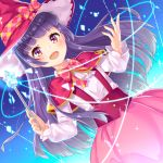 1girl :d hat izayoi_liko long_hair mahou_girls_precure! multicolored_eyes open_mouth pensuke pink_eyes precure purple_hair smile solo violet_eyes wand witch_hat