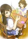 2girls black_hair blue_eyes brown_eyes brown_hair chair cleaning desk floor hibike!_euphonium highres looking_back multiple_girls school_uniform sitting supe_(yuusyasupepen)