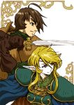 1boy 1girl ahoge armor blonde_hair blue_eyes brown_eyes brown_hair circlet deedlit elf parn pauldrons pointy_ears record_of_lodoss_war short_hair supe_(yuusyasupepen)