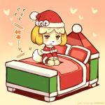 1girl animal_ears bed bell blonde_hair brown_eyes christmas dog_ears doubutsu_no_mori dress furry hat jingle_bell open_mouth pillow santa_costume santa_hat shigatake shizue_(doubutsu_no_mori) short_hair sitting smile solo tail