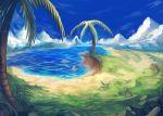 1girl beach clouds giantess grass ikamusume leaf palm_tree rock shinryaku!_ikamusume sky solo tree water yilx