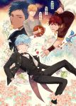 4boys aomine_daiki basketball bird blonde_hair blue_eyes blue_hair brown_eyes butler champagne_flute cup dress_shirt drinking_glass falling flower food formal fruit gearous gloves jewelry kagami_taiga kise_ryouta kuroko_no_basuke kuroko_tetsuya lily_(flower) long_sleeves looking_at_viewer male_focus multiple_boys necklace one_eye_closed open_mouth orange orange_slice pants red_eyes redhead saucer shirt smile spilling strawberry suit teacup tray white_gloves