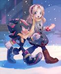aoki_(fumomo) blonde_hair boots coat hairband holding_hands maria_robotnik pantyhose scarf shadow_the_hedgehog shared_scarf smile sonic_the_hedgehog walking winter_clothes