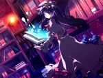 1girl book capelet floating_object hat library long_hair looking_back magic motomiya_mitsuki open_book patchouli_knowledge purple_eyes purple_hair robe solo touhou violet_eyes voile