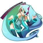 aqua_eyes aqua_hair detached_sleeves hatsune_miku headphones long_hair luli naughty_face necktie no_panties panties romaji skirt smile thigh-highs thighhighs tongue twintails underwear very_long_hair vocaloid zettai_ryouiki