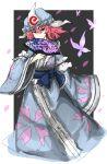 1girl butterfly fan hair_between_eyes hat highres japanese_clothes kan_(aaaaari35) kimono mob_cap petals pink_eyes pink_hair saigyouji_yuyuko solo touhou triangular_headpiece