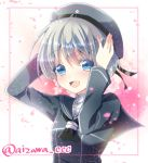 1girl blue_eyes chihiro_(oimo) clothes_writing dress hands_on_headwear hat kantai_collection open_mouth sailor_dress sailor_hat short_hair silver_hair smile z1_leberecht_maass_(kantai_collection)