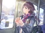 1girl bag bangs blush brown_hair cable coat commentary dutch_angle earphones haru_(hiyori-kohal) holding holding_phone light_particles long_hair long_sleeves looking_away looking_out_window low-tied_long_hair morning open_clothes open_coat original phone plaid plaid_scarf scarf school_bag school_uniform smile snow solo sunlight sweater train_interior tree upper_body violet_eyes winter