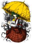 1girl ascot checkered checkered_skirt checkered_vest flower green_hair highres ivy kan_(aaaaari35) kazami_yuuka parasol red_eyes skirt solo sunflower touhou umbrella