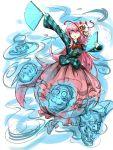 1girl bubble_skirt dancing fan fox_mask hata_no_kokoro highres kan_(aaaaari35) long_hair mask pink_eyes pink_hair skirt solo touhou